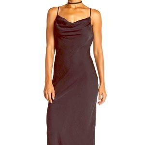 Dresses & Skirts - Draped Neck Satin Maxi Dress NWT